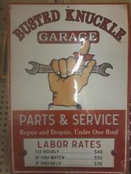 Busted Knuckle Garage Raised Letters 12 By 9 Inches Gas Shop Man Cave