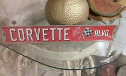 Corvette Blvd Metal Sign Raised Letters 20 By 3 Inches Gas Shop Man Cave