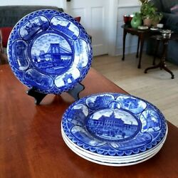 The Rowland And Marsellus Co Blue Transferware Souvenir Plates 5 Avail. Uk Vtge