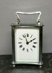 Silver Plated Mechanical 8 Day Carriage Carriage Clock