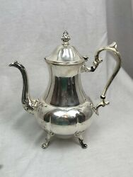 Antique Sheridan Silver Plate Footed Coffee Tea Water Pot With Hinged Lid 11