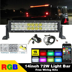 14 Inch 5d Rgb Offroad Led Light Bar Combo Strobe Flash Bluetooth And Wiring Kits