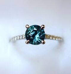 Montana Sapphire Ring With Diamonds 14k White Gold Teal Blue Sapphire Ring