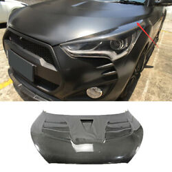 Fit For 2011-2016 Hyundai Veloster Hood Vented Cover Cap Refit Real Carbon Fiber