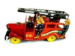 Old Ladder Fire Truck Friction 1950's Antique Tin Toy From Japan F/s