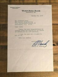 Signed Letter To Clifford Evans From Ted Kennedy Uss-mass 1976