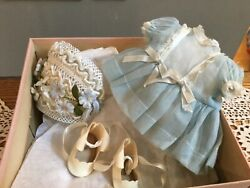 Doll Terri Lee Clothing Blue Tea Party Dress Hat And Shoes In Box 1950s