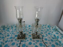 Pair Cambridge Style Footed Keyhole Hurricane Lamps