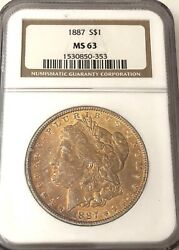 Look__1887- Ngc Ms-63 U.s. Morgan Silver Dollar- See Other Rare Coins Jewelry