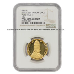Undated Vatican Gold Pope Paul Vi Medal Ngc Pf64ucam Proof Graded Coin