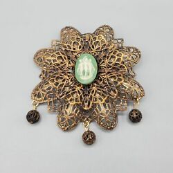 Vintage Three Muses Graces Green Cameo Brass Filigree Dangle Brooch