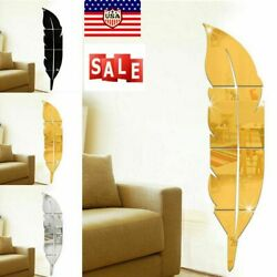 Removable 3D DIY Feather Mirror Home Room Decal Vinyl Art Stickers Wall Decor