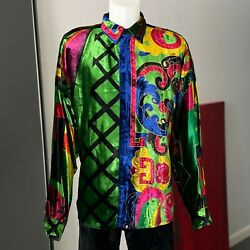 Gianni Versace Silk Velvet Shirt W/ Gold Accents Size It 52 From Fw 1991/92
