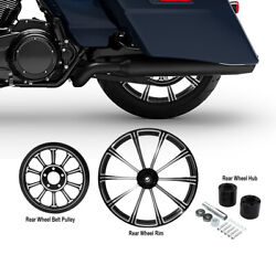 18and039and039x 5.5and039and039 Rear Wheel Rim +hub +belt Pulley Sprocket Fit For Harley Road King