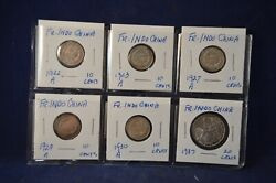 Nice Lot Of 6 French Indo China Silver Coins