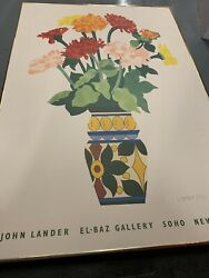 John Lander Galerie El-baz 1983 Signed New York Exhibition Poster Lithograph