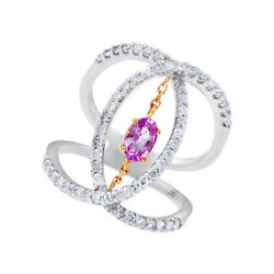18k White Gold Diamond Ring With Pink Center. 0.74 Carats In Diamonds. Size 6.5
