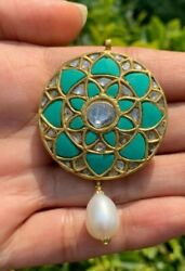 Antique Style Brand New Turquoise Diamond Pearl Drop Pendant In 22k Gold