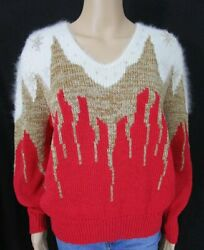 Vintage 80s Dynasty Red Gold Angora Beaded Metallic Sweater Large