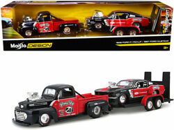 1948 Ford F-1 Pickup And 1967 Mustang Gt And Trailer Pony Up Set 1/24 Maisto 32751