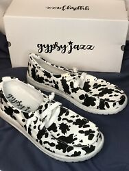 Gypsy Jazz Milk it Black and White Lace Up Sneakers Casual Shoes Multiple Sizes