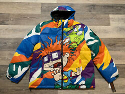 Members Only Colorful Zip Up Nickelodeon Rugrats Puffer Coat Menandrsquos Size Xl