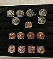 Lot Of 13 - Fire Dept Rings Stainless Steel - Red And Black - Size 9, 10, 11
