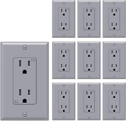 Decorator Electrical Wall Outlet Grey Tamper-resistant Duplex Receptacle 10 Pack