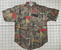 Deadstock Nwt Vintage 80s 90s Goouch Rayon Short Sleeve Shirt Abstract 643-01