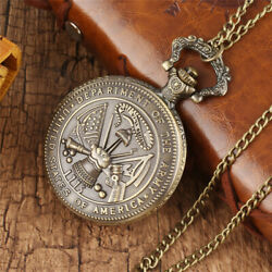 Retro Pocket Watch Chain Us Department Of The Army Analog Fob Watch For Men