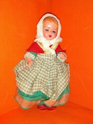 Vintage European Travel Souvenir Doll Lace Head-kerchief And Straw Basket Backpack