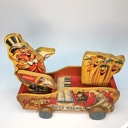 Rare Early 1940s Fisher Price Circus Wagon Pull Toy / Arms Move Plays Music 156