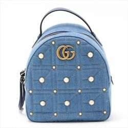 Gg Marmont Backpack Bag Denim Blue Pearl Rucksack Woman Japan L/d Auth New