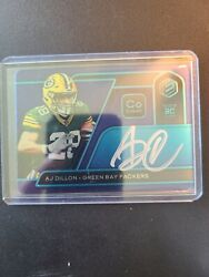 Aj Dillon Panini Elements Cobalt Rookie Auto /27 Green Bay Packers White Ink Ssp