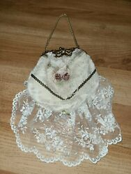 Vintage Victorian Style Clutch Evening Bag Rose Bead Lace Ivory White $20.00