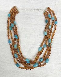 Jay King Mine Finds Drt Sterling Silver Amber Turquoise Five Strand Necklace