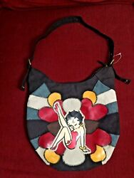 Betty Boop Patchwork Style Shoulder Tote Bag Purse With Adjustable Strap