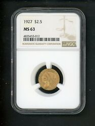 1927 Us Gold Indian Quarter Eagle 2.50 Ngc Ms 63 Choice Unc Orig Bright Frosted