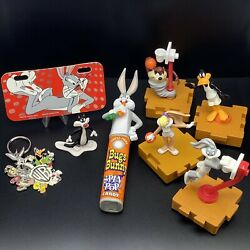 Lot Of 8 Vintage 1990s Looney Tunes Space Jam Toys Keychain Wb Bugs Bunny Items