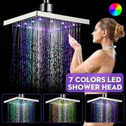 Led Rainfall Shower Head Rgb Color-changing Temperature Sensor Water Glow Light