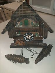 Antique Wooden Cuckoo Clock Made In German With 2 Cast Pinecone Weights
