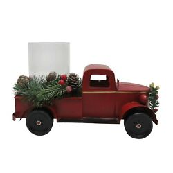 Red Metal Holiday Farm Truck 12 X 6 X 7 Candle Holder New With Tags