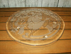 Large Glass Santa Christmas 14 Round Serving Plate Cookie Cake Platter Tray