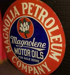 Magnolene Oil 5ft. Metal Sign Porcelain Sign Gas Oil Collectible Gas Pump