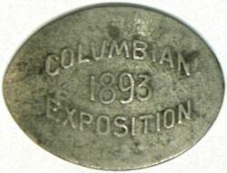 Elongated 1886 Vf+ Liberty Nickel 1893 Columbian Exposition Md Ill-wce-1 R3