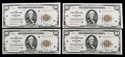 1929 100 Federal Reserve Bank Of Cleveland Series Of 4 Consecutive Notes Unc