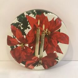 Vtg Christmas Candy Cookie Tin Poinsettia Holly Candle Bell Bow Stash