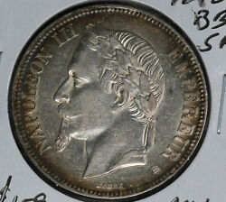 Nice Almost Uncirculated 1870bb France 5 Francs Silver Coin