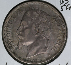 Strong Extra Fine 1870bb France 5 Francs Silver Coin