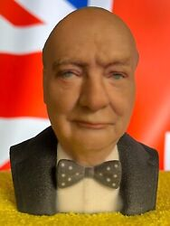 3d Printed Full Color Winston Churchill Bust Statue Presidential Collectible